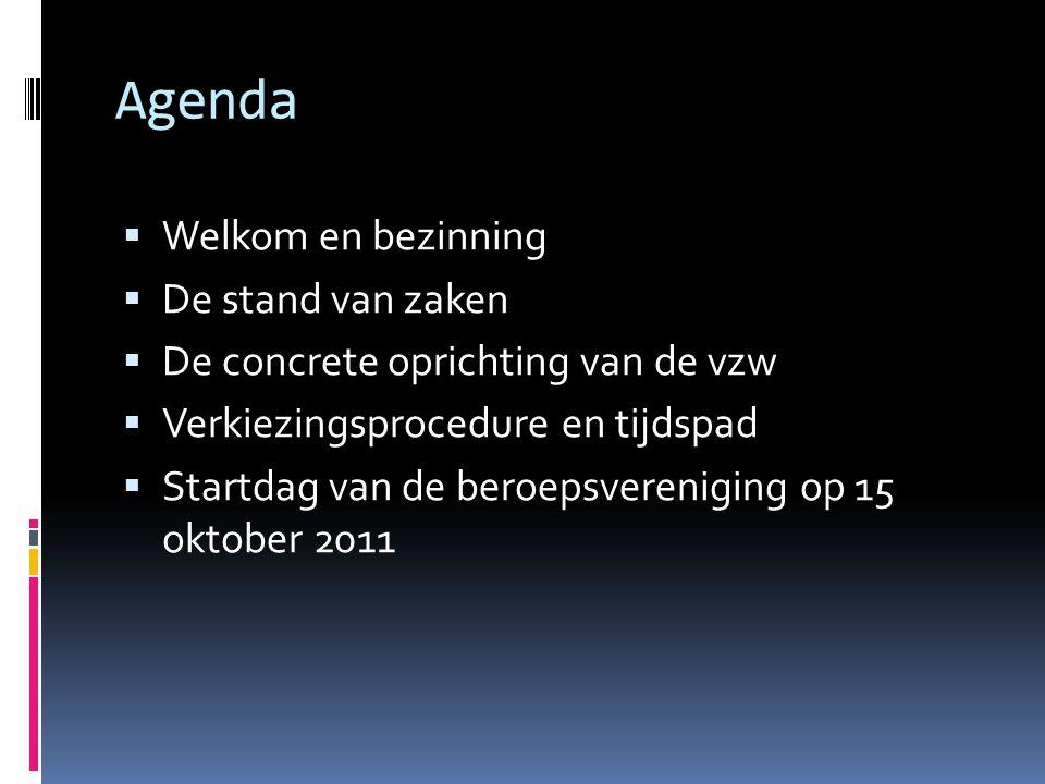Agenda  Welkom en bezinning  De stand van zaken  De concrete oprichting van de vzw  Verkiezingsprocedure en tijdspad  Startdag van de beroepsvere