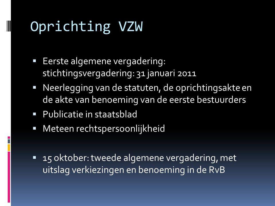 Oprichting VZW  Eerste algemene vergadering: stichtingsvergadering: 31 januari 2011  Neerlegging van de statuten, de oprichtingsakte en de akte van