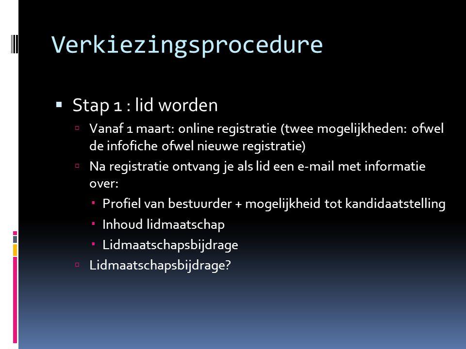 Verkiezingsprocedure  Stap 1 : lid worden  Vanaf 1 maart: online registratie (twee mogelijkheden: ofwel de infofiche ofwel nieuwe registratie)  Na