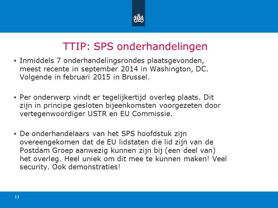 TTIP: SPS onderhandelingen Inmiddels 7 onderhandelingsrondes plaatsgevonden, meest recente in september 2014 in Washington, DC. Volgende in februari 2