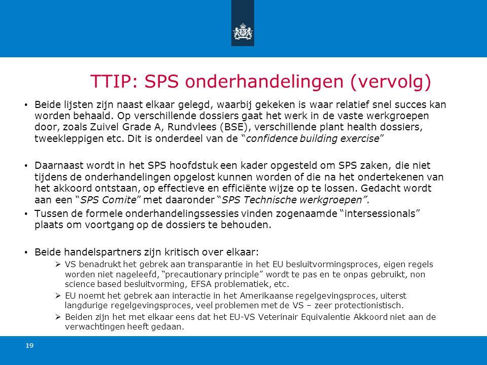 TTIP: SPS onderhandelingen (vervolg) Beide lijsten zijn naast elkaar gelegd, waarbij gekeken is waar relatief snel succes kan worden behaald. Op versc