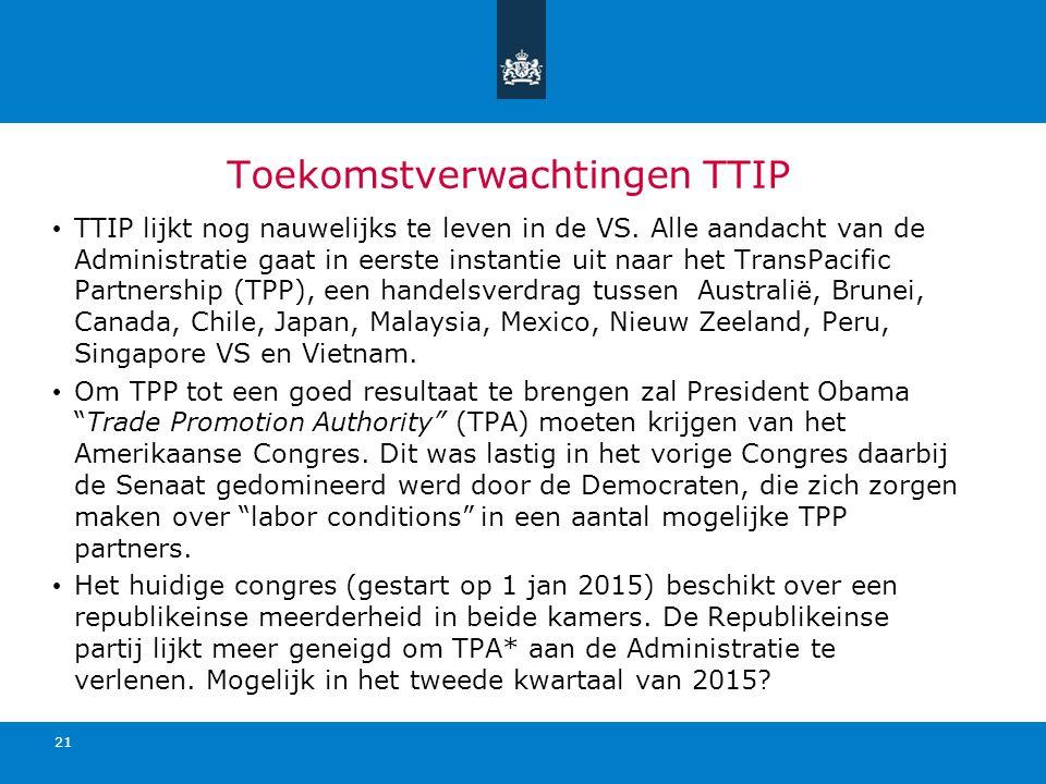 Toekomstverwachtingen TTIP TTIP lijkt nog nauwelijks te leven in de VS. Alle aandacht van de Administratie gaat in eerste instantie uit naar het Trans