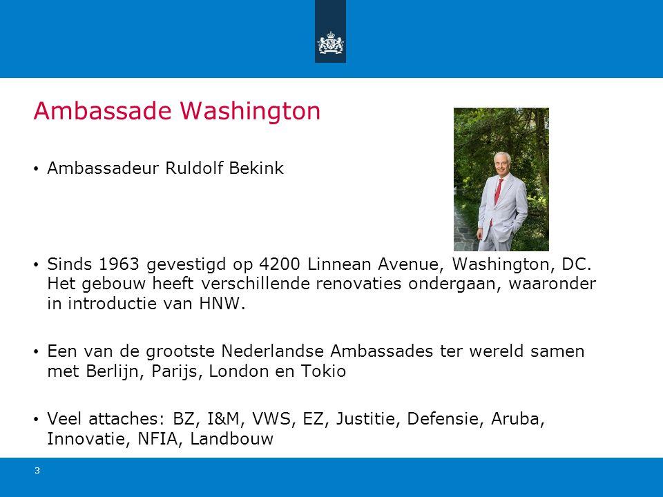 Ambassade Washington Ambassadeur Ruldolf Bekink Sinds 1963 gevestigd op 4200 Linnean Avenue, Washington, DC. Het gebouw heeft verschillende renovaties