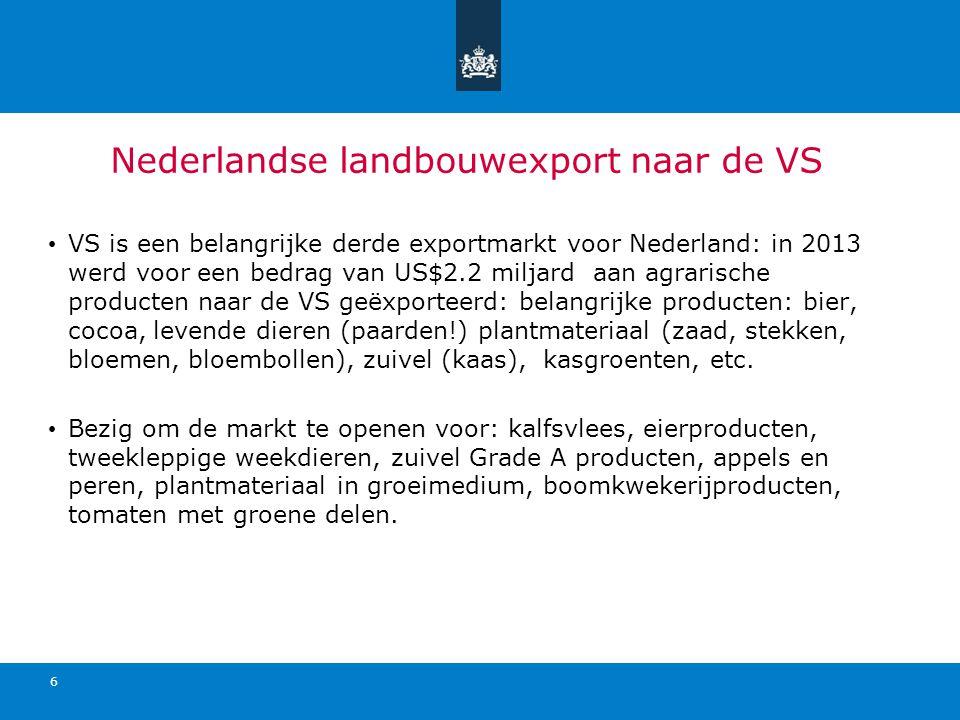 Nederlandse landbouwexport naar de VS VS is een belangrijke derde exportmarkt voor Nederland: in 2013 werd voor een bedrag van US$2.2 miljard aan agrarische producten naar de VS geëxporteerd: belangrijke producten: bier, cocoa, levende dieren (paarden!) plantmateriaal (zaad, stekken, bloemen, bloembollen), zuivel (kaas), kasgroenten, etc.