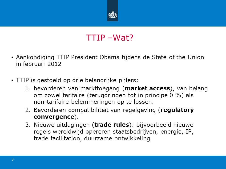 TTIP –Wat? Aankondiging TTIP President Obama tijdens de State of the Union in februari 2012 TTIP is gestoeld op drie belangrijke pijlers: 1.bevorderen