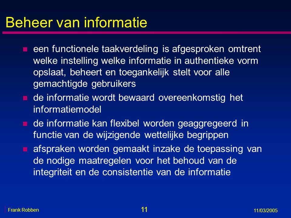 11 Frank Robben 11/03/2005 Beheer van informatie n een functionele taakverdeling is afgesproken omtrent welke instelling welke informatie in authentieke vorm opslaat, beheert en toegankelijk stelt voor alle gemachtigde gebruikers n de informatie wordt bewaard overeenkomstig het informatiemodel n de informatie kan flexibel worden geaggregeerd in functie van de wijzigende wettelijke begrippen n afspraken worden gemaakt inzake de toepassing van de nodige maatregelen voor het behoud van de integriteit en de consistentie van de informatie
