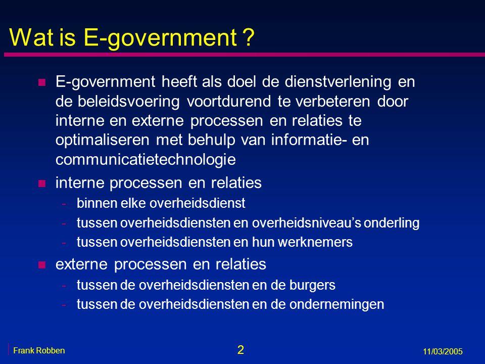 33 Frank Robben 11/03/2005 Informatieveiligheid en privacybescherming 1.