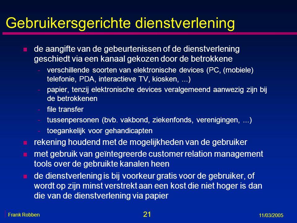 21 Frank Robben 11/03/2005 Gebruikersgerichte dienstverlening n de aangifte van de gebeurtenissen of de dienstverlening geschiedt via een kanaal gekozen door de betrokkene -verschillende soorten van elektronische devices (PC, (mobiele) telefonie, PDA, interactieve TV, kiosken,...) -papier, tenzij elektronische devices veralgemeend aanwezig zijn bij de betrokkenen -file transfer -tussenpersonen (bvb.
