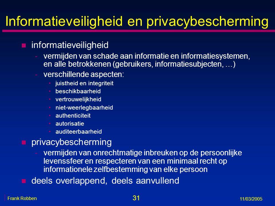 31 Frank Robben 11/03/2005 Informatieveiligheid en privacybescherming n informatieveiligheid -vermijden van schade aan informatie en informatiesystemen, en alle betrokkenen (gebruikers, informatiesubjecten, …) -verschillende aspecten: juistheid en integriteit beschikbaarheid vertrouwelijkheid niet-weerlegbaarheid authenticiteit autorisatie auditeerbaarheid n privacybescherming -vermijden van onrechtmatige inbreuken op de persoonlijke levenssfeer en respecteren van een minimaal recht op informationele zelfbestemming van elke persoon n deels overlappend, deels aanvullend