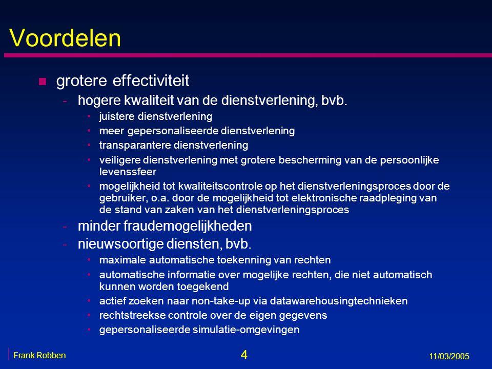 25 Frank Robben 11/03/2005 Open specificaties en open standaarden n open specificatie: specificatie die voldoende is om een volledig functionerende toepassing te schrijven en vrij is van juridische beperkingen die de verspreiding en het gebruik bemoeilijken n open standaard: open specificatie die goedgekeurd is door een onafhankelijke standaardenorganisatie n voornaamste internationale, onafhankelijke standaardenorganisaties -International Organization for Standardization (ISO) (http://www.iso.org)http://www.iso.org -World Wide Web Consortium (W3C) (http://www.w3.org)http://www.w3.org -OASIS (http://www.oasis-open.org)http://www.oasis-open.org
