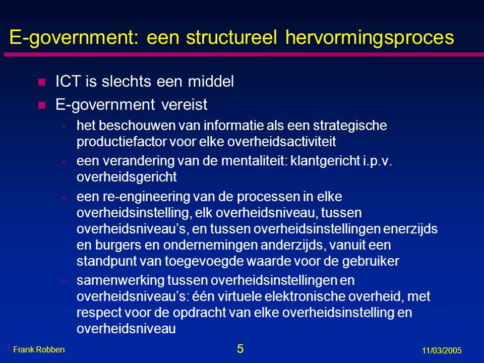 6 Frank Robben 11/03/2005 E-government: een structureel hervormingsproces n E-government vereist -samenwerking tussen de openbare en de private sector -een gepast juridisch kader uitgewerkt op het juiste niveau -een interoperabiliteitsframework: ICT, informatieveiligheid, unieke identificatiesleutels, afdoende geharmoniseerde concepten -gedecentraliseerde implementatie, maar met gemeenschappelijke visie en gecoördineerde planning en programmabeheer (think global, act local) -gepaste maatregelen ter vermijding van een digitale kloof