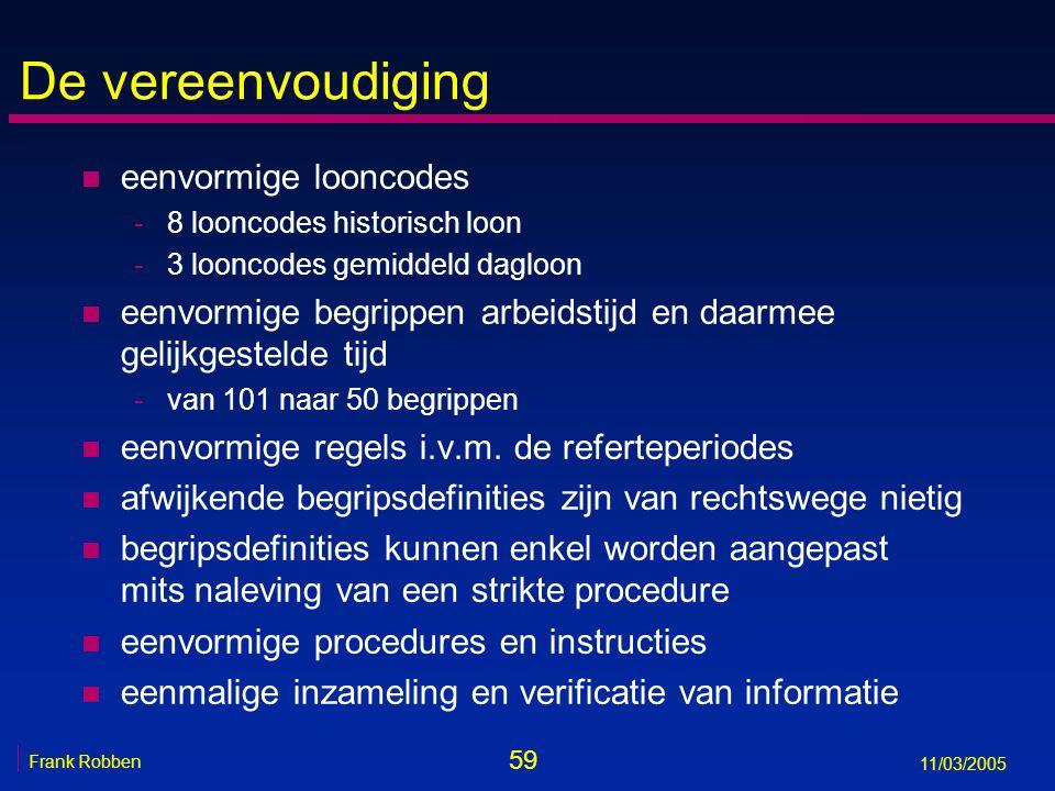 59 Frank Robben 11/03/2005 De vereenvoudiging n eenvormige looncodes -8 looncodes historisch loon -3 looncodes gemiddeld dagloon n eenvormige begrippen arbeidstijd en daarmee gelijkgestelde tijd -van 101 naar 50 begrippen n eenvormige regels i.v.m.