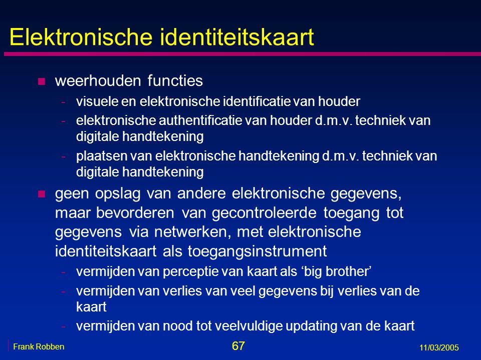 67 Frank Robben 11/03/2005 Elektronische identiteitskaart n weerhouden functies -visuele en elektronische identificatie van houder -elektronische authentificatie van houder d.m.v.