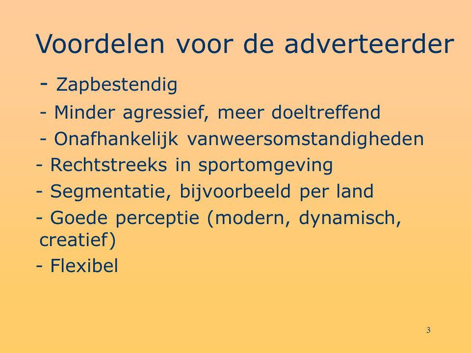 3 Voordelen voor de adverteerder - Zapbestendig - Minder agressief, meer doeltreffend - Onafhankelijk vanweersomstandigheden - Rechtstreeks in sportom