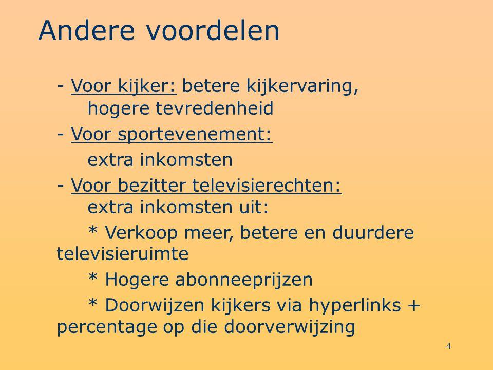 4 Andere voordelen - Voor kijker: betere kijkervaring, hogere tevredenheid - Voor sportevenement: extra inkomsten - Voor bezitter televisierechten: ex