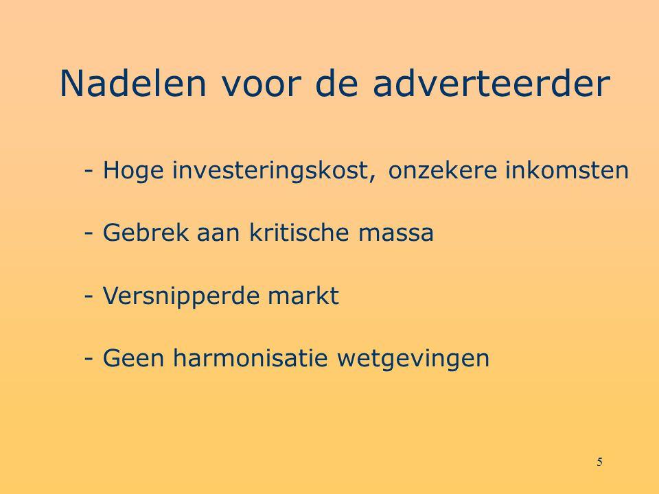 5 Nadelen voor de adverteerder - Hoge investeringskost, onzekere inkomsten - Gebrek aan kritische massa - Versnipperde markt - Geen harmonisatie wetge