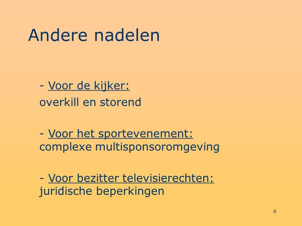 6 Andere nadelen - Voor de kijker: overkill en storend - Voor het sportevenement: complexe multisponsoromgeving - Voor bezitter televisierechten: juri