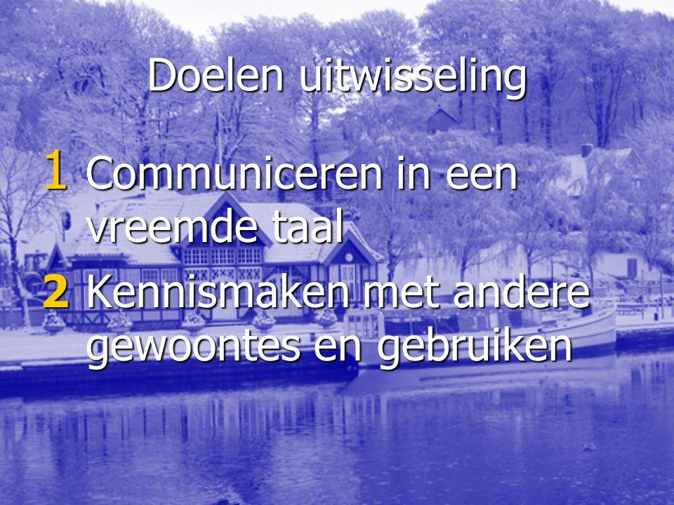 Doelen uitwisseling 1 Communiceren in een vreemde taal 2Kennismaken met andere gewoontes en gebruiken