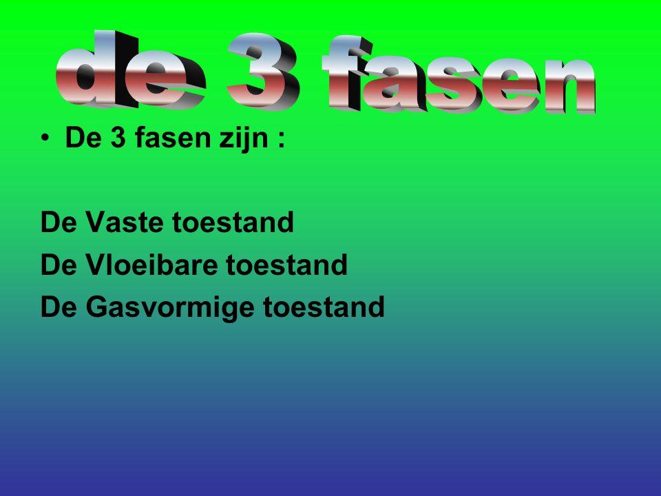 De 3 fasen zijn : De Vaste toestand De Vloeibare toestand De Gasvormige toestand