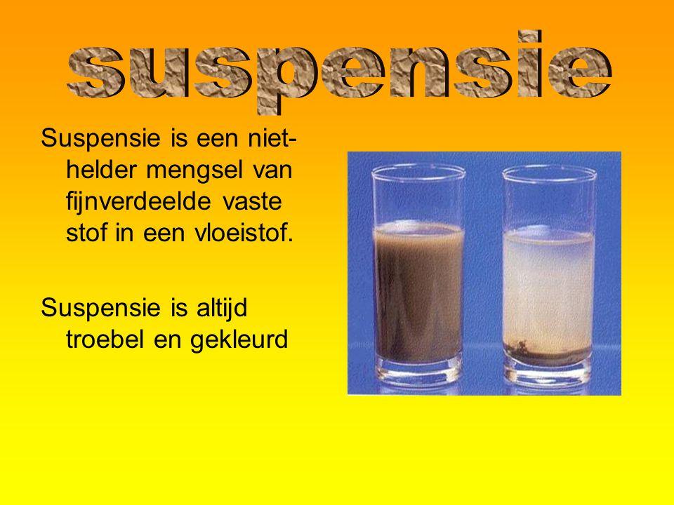 Suspensie is een niet- helder mengsel van fijnverdeelde vaste stof in een vloeistof. Suspensie is altijd troebel en gekleurd