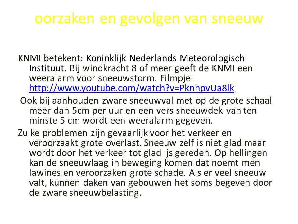 oorzaken en gevolgen van sneeuw KNMI betekent: Koninklijk Nederlands Meteorologisch Instituut. Bij windkracht 8 of meer geeft de KNMI een weeralarm vo