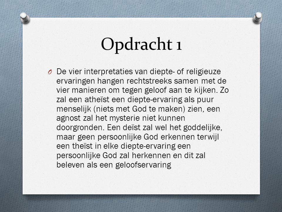 Opdracht 1 O De vier interpretaties van diepte- of religieuze ervaringen hangen rechtstreeks samen met de vier manieren om tegen geloof aan te kijken.