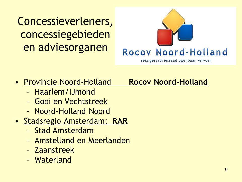 9 Concessieverleners, concessiegebieden en adviesorganen Provincie Noord-Holland Rocov Noord-Holland –Haarlem/IJmond –Gooi en Vechtstreek –Noord-Holland Noord Stadsregio Amsterdam: RAR –Stad Amsterdam –Amstelland en Meerlanden –Zaanstreek –Waterland
