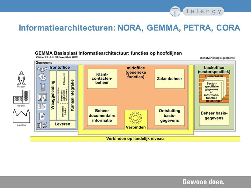 Informatiearchitecturen: NORA, GEMMA, PETRA, CORA