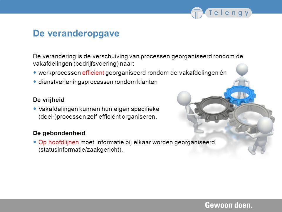 De veranderopgave De verandering is de verschuiving van processen georganiseerd rondom de vakafdelingen (bedrijfsvoering) naar: werkprocessen efficiën