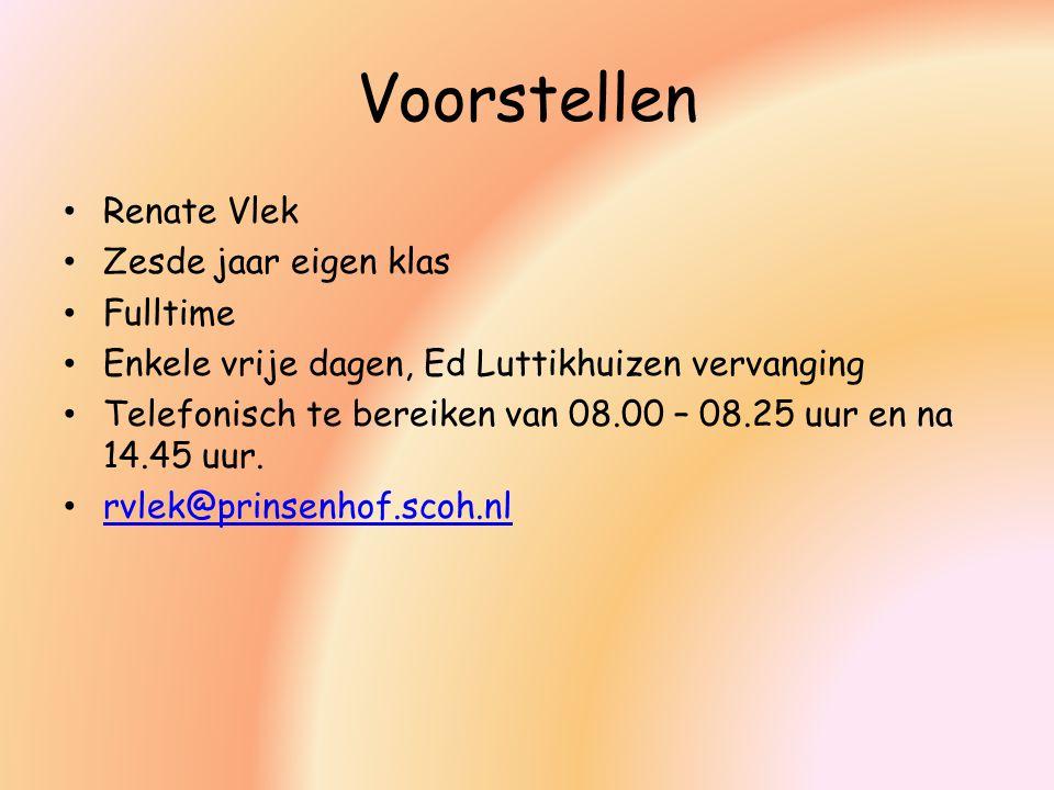 Voorstellen Renate Vlek Zesde jaar eigen klas Fulltime Enkele vrije dagen, Ed Luttikhuizen vervanging Telefonisch te bereiken van 08.00 – 08.25 uur en