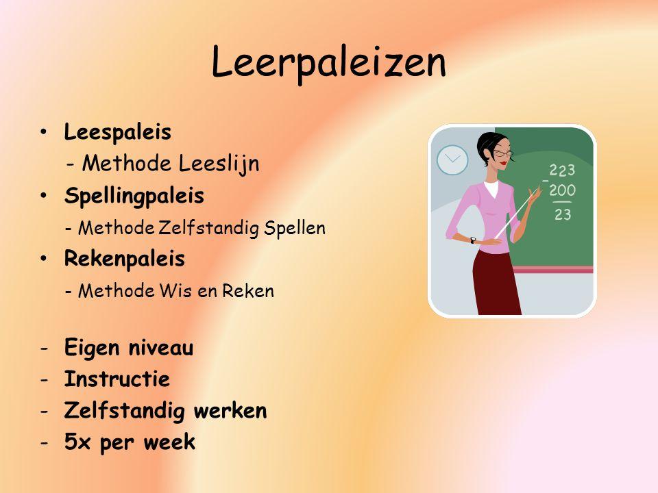 Leerpaleizen Leespaleis - Methode Leeslijn Spellingpaleis - Methode Zelfstandig Spellen Rekenpaleis - Methode Wis en Reken -Eigen niveau -Instructie -