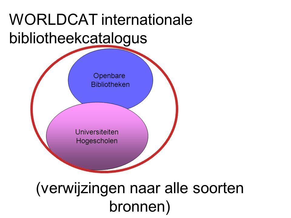 WORLDCAT internationale bibliotheekcatalogus Openbare Bibliotheken Universiteiten Hogescholen (verwijzingen naar alle soorten bronnen)