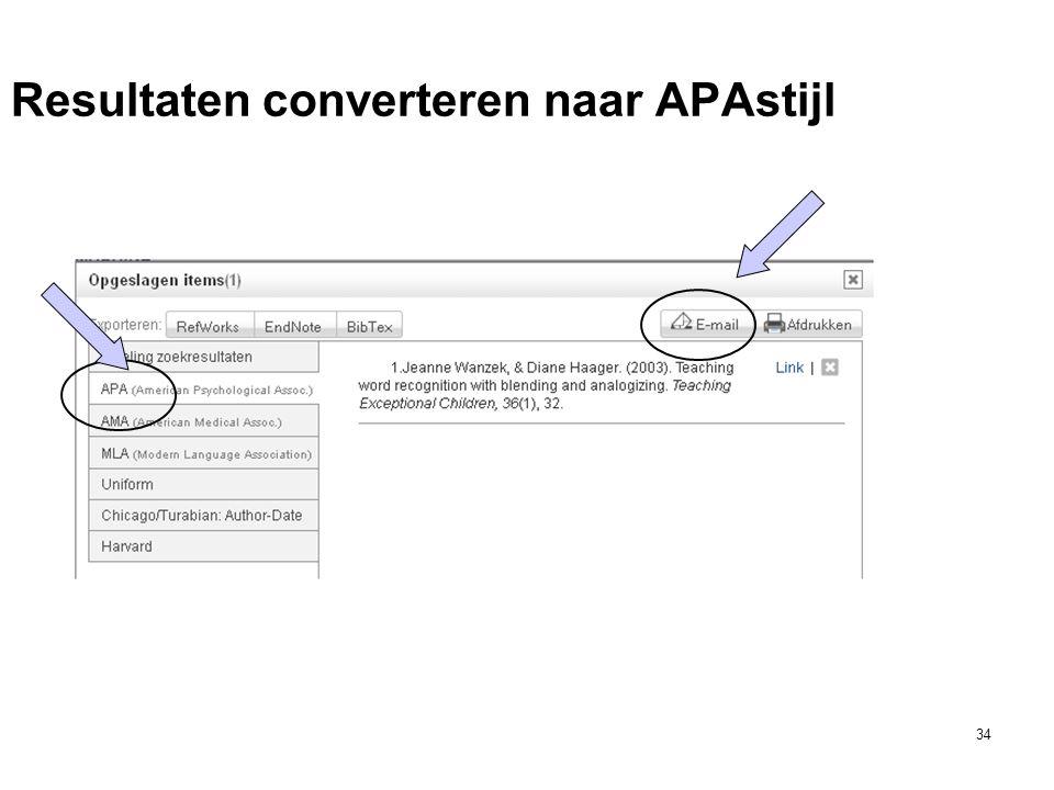 34 Resultaten converteren naar APAstijl