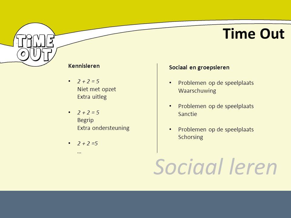 Time Out Kennisleren 2 + 2 = 5 Niet met opzet Extra uitleg 2 + 2 = 5 Begrip Extra ondersteuning 2 + 2 =5 … Sociaal en groepsleren Problemen op de spee