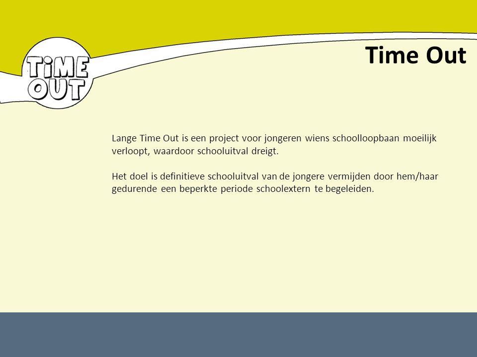 Time Out Lange Time Out is een project voor jongeren wiens schoolloopbaan moeilijk verloopt, waardoor schooluitval dreigt. Het doel is definitieve sch
