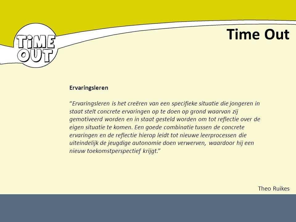 """Time Out Ervaringsleren """"Ervaringsleren is het creëren van een specifieke situatie die jongeren in staat stelt concrete ervaringen op te doen op grond"""
