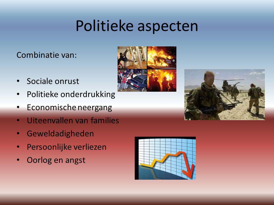 Politieke aspecten Combinatie van: Sociale onrust Politieke onderdrukking Economische neergang Uiteenvallen van families Geweldadigheden Persoonlijke