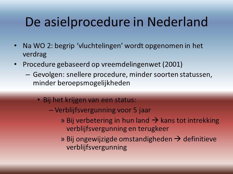 De asielprocedure in Nederland Na WO 2: begrip 'vluchtelingen' wordt opgenomen in het verdrag Procedure gebaseerd op vreemdelingenwet (2001) – Gevolgen: snellere procedure, minder soorten statussen, minder beroepsmogelijkheden Bij het krijgen van een status: – Verblijfsvergunning voor 5 jaar » Bij verbetering in hun land  kans tot intrekking verblijfsvergunning en terugkeer » Bij ongewijzigde omstandigheden  definitieve verblijfsvergunning