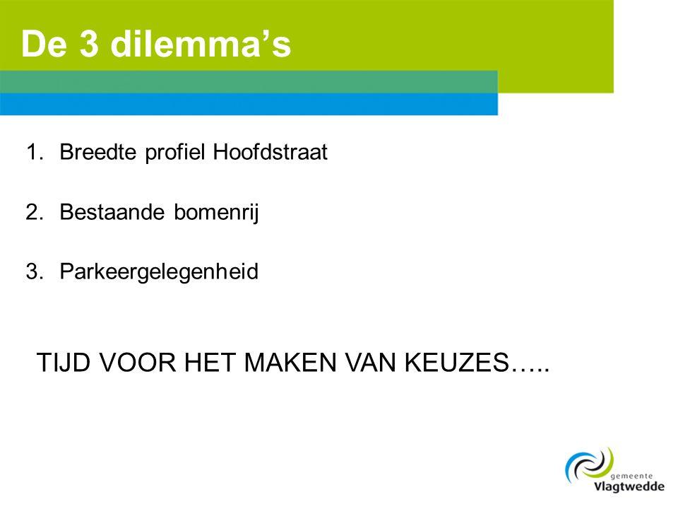 De 3 dilemma's 1.Breedte profiel Hoofdstraat 2.Bestaande bomenrij 3.Parkeergelegenheid TIJD VOOR HET MAKEN VAN KEUZES…..