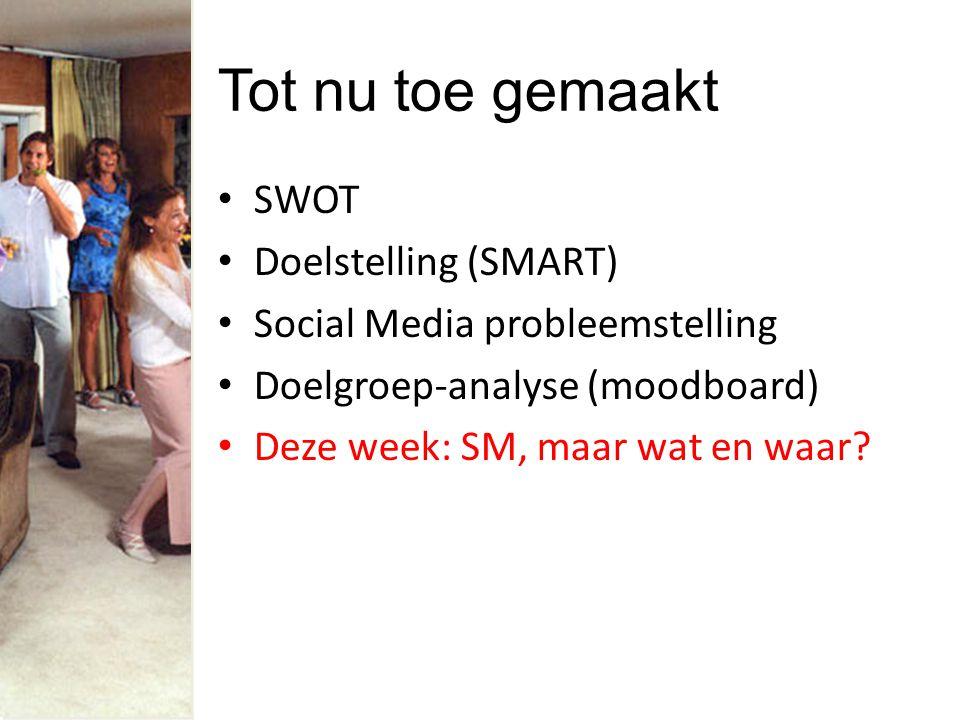 Tot nu toe gemaakt SWOT Doelstelling (SMART) Social Media probleemstelling Doelgroep-analyse (moodboard) Deze week: SM, maar wat en waar