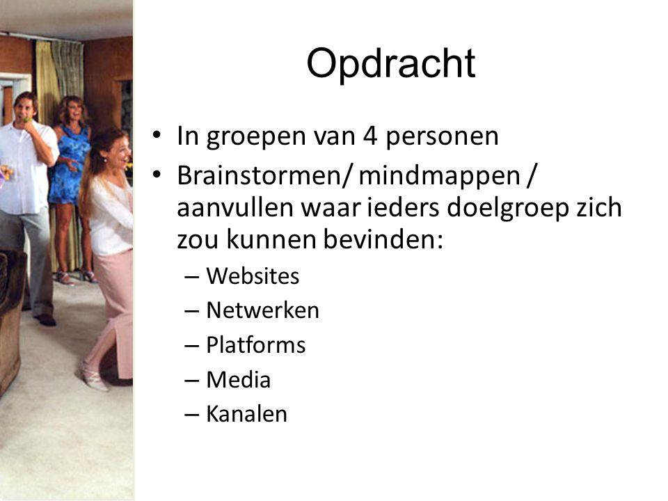 Opdracht In groepen van 4 personen Brainstormen/ mindmappen / aanvullen waar ieders doelgroep zich zou kunnen bevinden: – Websites – Netwerken – Platforms – Media – Kanalen