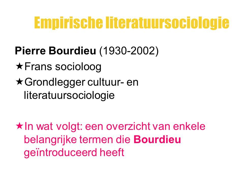Empirische literatuursociologie Pierre Bourdieu (1930-2002)  Frans socioloog  Grondlegger cultuur- en literatuursociologie  In wat volgt: een overz