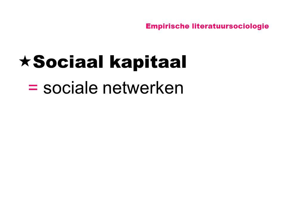 Empirische literatuursociologie  Sociaal kapitaal = sociale netwerken