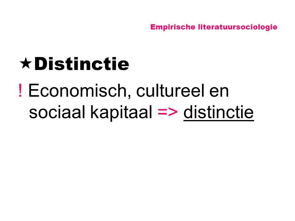 Empirische literatuursociologie  Distinctie ! Economisch, cultureel en sociaal kapitaal => distinctie