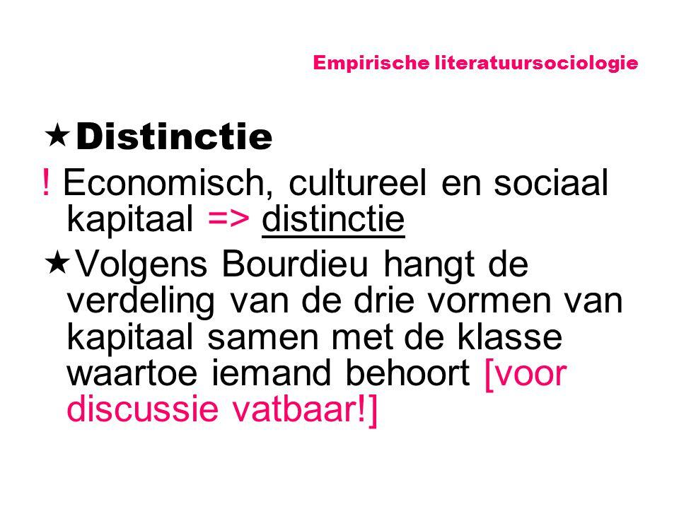 Empirische literatuursociologie  Distinctie ! Economisch, cultureel en sociaal kapitaal => distinctie  Volgens Bourdieu hangt de verdeling van de dr