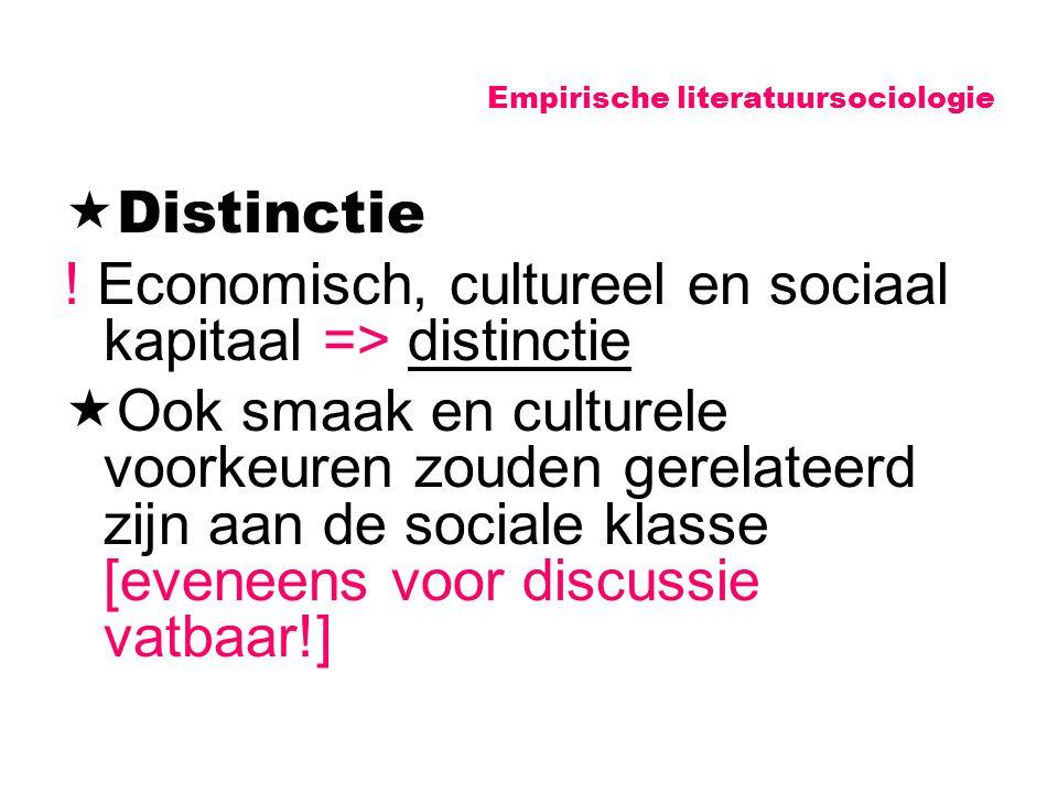 Empirische literatuursociologie  Distinctie ! Economisch, cultureel en sociaal kapitaal => distinctie  Ook smaak en culturele voorkeuren zouden gere