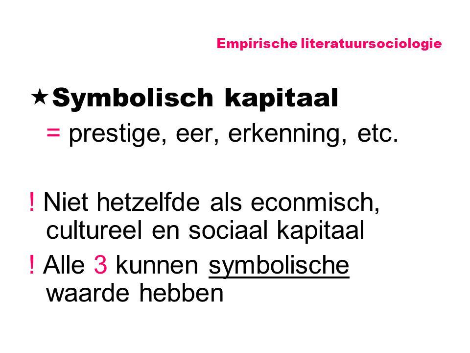 Empirische literatuursociologie  Symbolisch kapitaal = prestige, eer, erkenning, etc. ! Niet hetzelfde als econmisch, cultureel en sociaal kapitaal !