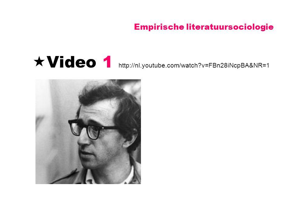Empirische literatuursociologie  Video 1 http://nl.youtube.com/watch?v=FBn28iNcpBA&NR=1