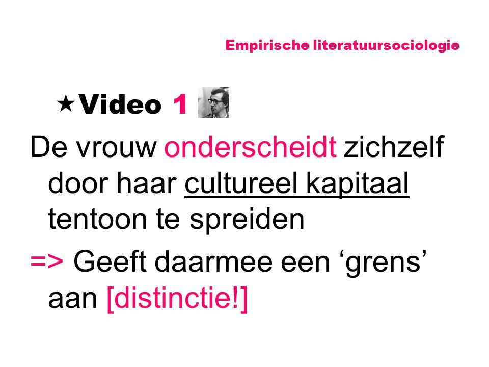 Empirische literatuursociologie  Video 1 De vrouw onderscheidt zichzelf door haar cultureel kapitaal tentoon te spreiden => Geeft daarmee een 'grens'