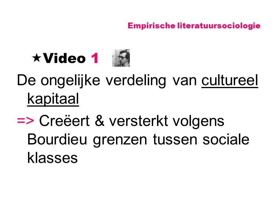 Empirische literatuursociologie  Video 1 De ongelijke verdeling van cultureel kapitaal => Creëert & versterkt volgens Bourdieu grenzen tussen sociale